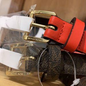 MICHAEL KORS-Genuine Leather '2 FOR 1 BELT SET'